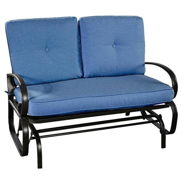 Casainc Metal Rocking Bench Outdoor, Outdoor Rocking Bench With Cushions