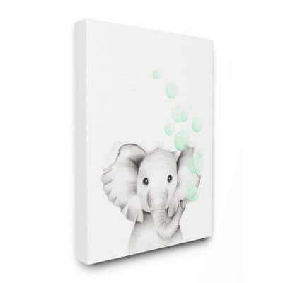 """24 in. x 30 in. """"Cute Cartoon Baby Elephant Zoo Painting"""" by Studio Q Canvas Wall Art"""