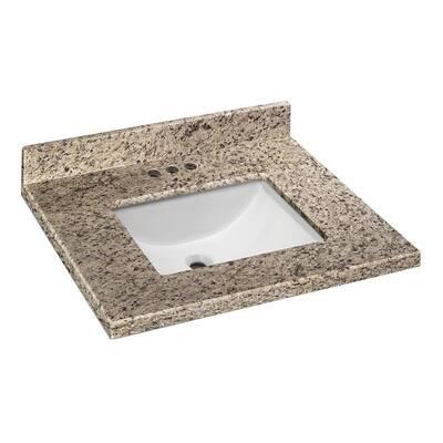 25 in. W x 19 in. D Granite Vanity Top in Giallo Ornamental with White Single Trough Sink