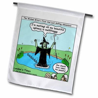Rich Diesslins Famous People Places Books Cartoons 1 ft. x 1-1/2 ft. Wicked Witch and Golf Flag