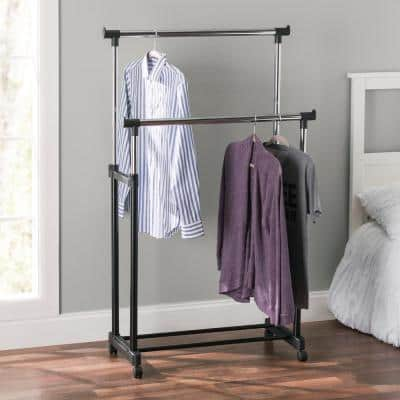Black Metal Clothes Rack 17 in. W x 37 in. H