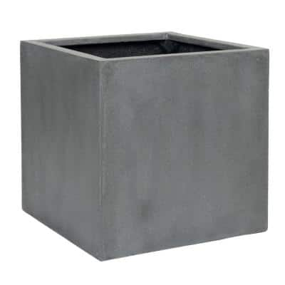Block Large 20 in. Tall Grey Fiberstone Indoor Outdoor Modern Square Planter