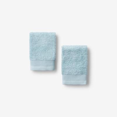Organic Spa Blue Solid Cotton Wash Cloth (Set of 2)