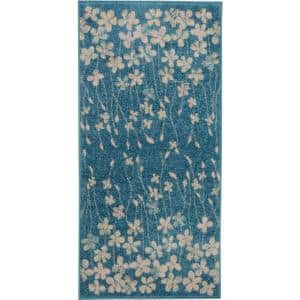 Tranquil Turquoise 2 ft. x 4 ft. Floral Modern Area Rug
