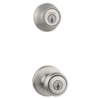 Tylo Satin Nickel Door Knob Combo Pack Featuring SmartKey Security with Microban Antimicrobial Technology