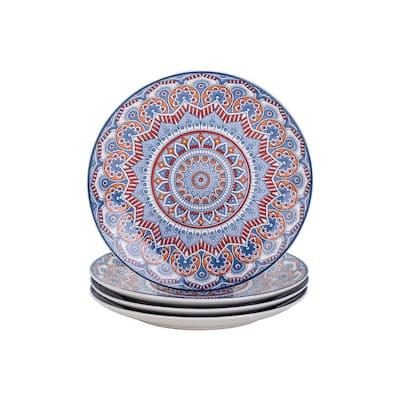 Mandala Patterned 10.25 in. Turquoise Porcelain Dinner Plate (Set of 4)