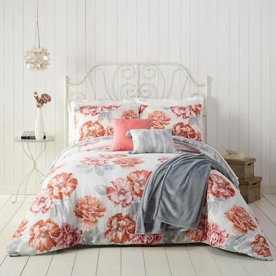 6-Piece Orange Golden Peony Polyester Full/Queen Comforter Set