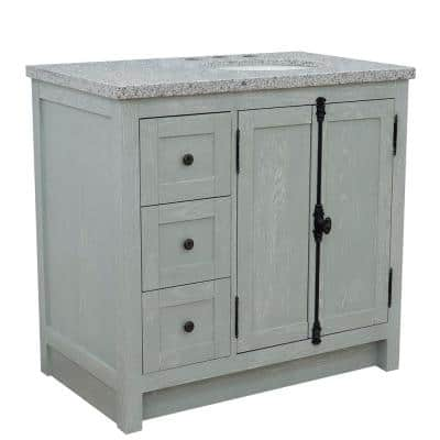 Gray Sink On Right Side Bathroom Vanities Bath The Home Depot