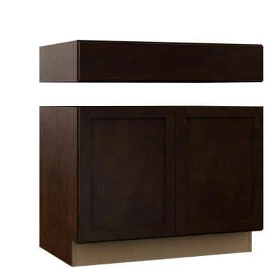 Shaker Assembled 36 in. x 34.5 in. x 24 in. Accessible Sink Base Kitchen Cabinet in Java
