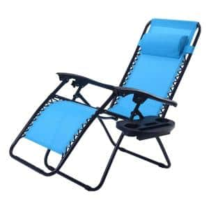 Blue Metal Folding and Reclining Zero Gravity Lawn Chair with Tray