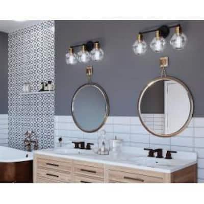 Hansford Collection 3-Light Antique Bronze Clear Glass Coastal Bath Vanity Light