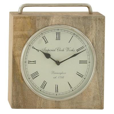 Brown Mango Wood Natural Analog Tabletop Clock
