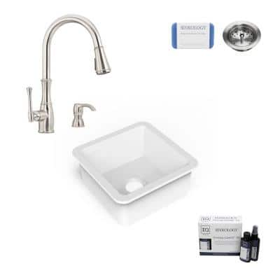 Amplify Undermount Fireclay 18.1 in. Single Bowl Bar Prep Sink with Pfister Faucet in Stainless