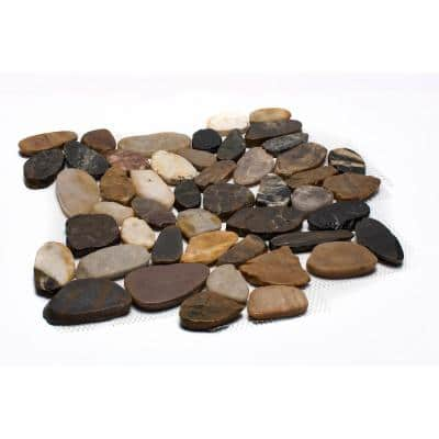 12 in. x 12 in. Mixed Sliced High-Polish Pebble Stone Floor and Wall Tile (5.0 sq. ft. / case)