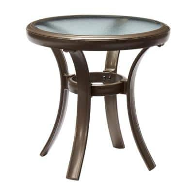 Commercial Grade Aluminum Brown Outdoor Patio Round Side Table