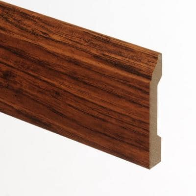Distressed Brown Hickory 9/16 in. Thick x 3-1/4 in. Wide x 94 in. Length Laminate Wall Base Molding