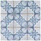 Harmonia Floral Lattice Blue 13 in. x 13 in. Ceramic Floor and Wall Tile (12.19 sq. ft./Case)