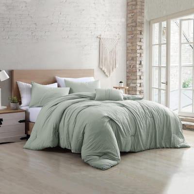 Beck Spa 4-Piece Multi-Colored King Garment-Washed Cotton Blend Comforter Set