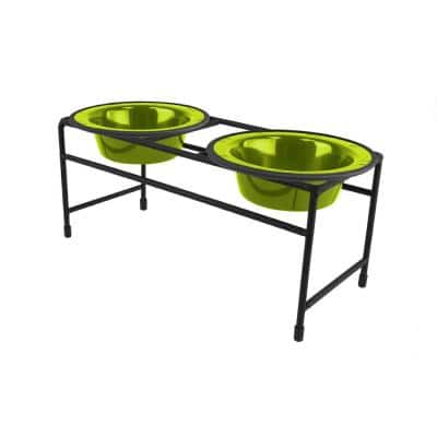 Modern Double Diner Feeder with Stainless Steel Cat/Dog Bowls, Corona Lime