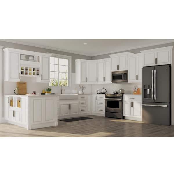 Hampton Bay Hampton Satin White Raised Panel Stock Assembled Sink Base Kitchen Cabinet 36 In X 34 5 In X 24 In Ksb36 Sw The Home Depot
