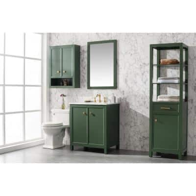 30 in. W x 22 in. D Vanity in Vogue Green with Marble Vanity Top in White with White Basin with Backsplash
