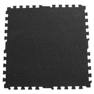 Z-Cycle Tiles 3/8 in. x 29 in. x 29 in. Black with White Speckles Interlocking Rubber Mat (24-Pack, 135 sq. ft.)