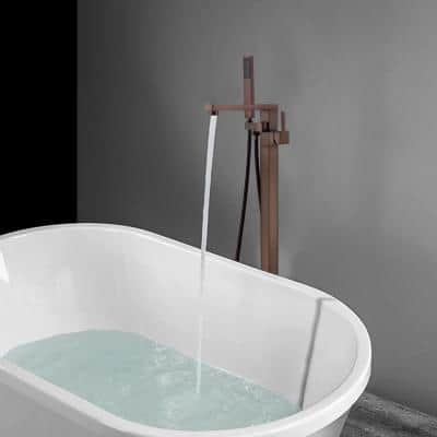 34 in. H x 12 in. W Single Handle Claw Foot Tub Faucet with Hand Shower in Oil Rubbed Bronze