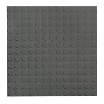 Vantage Circular Profile 19.69 in. x 19.69 in. Charcoal Rubber Tile