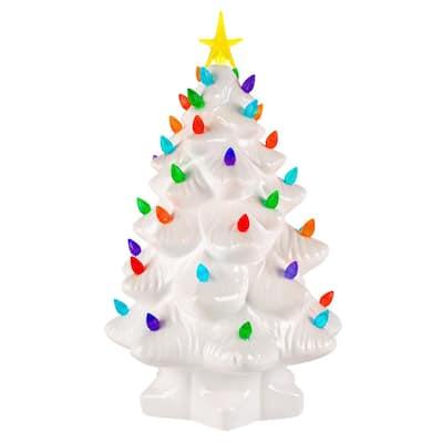 14 in. Christmas Porcelain Nostalgic Tree in White