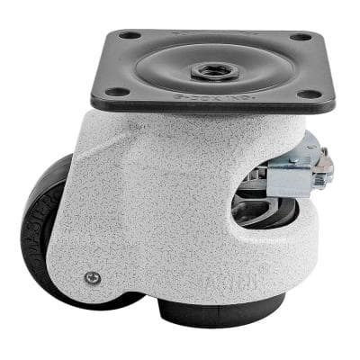 GDR Series 2-1/2 in. Nylon Swivel Iconic Ivory Plate Mounted Ratcheting Leveling Caster with 1100 lb. Load Rating