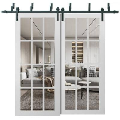 3355 48 in. x 80 in. Full Lite Clear Glass Matte White Finished Solid Wood Sliding Barn Door with Hardware Kit