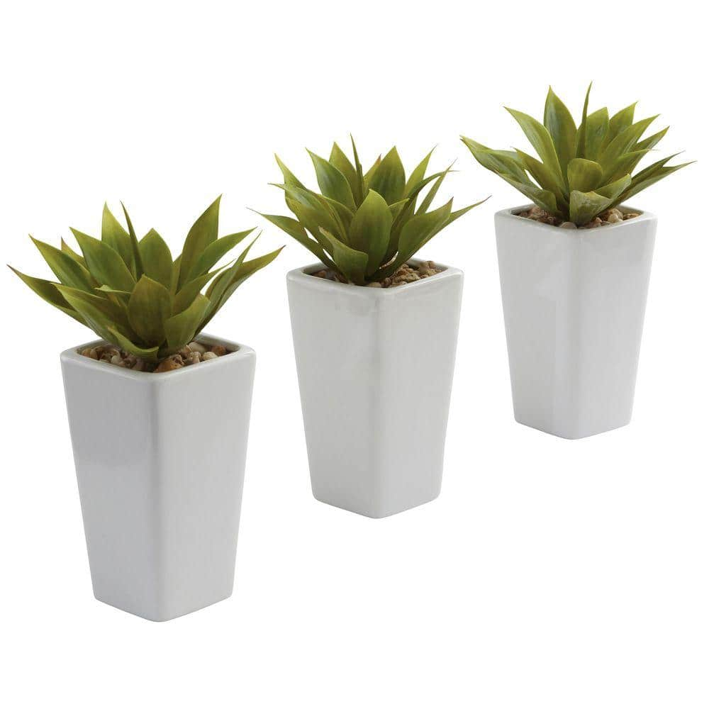 Nearly Natural Mini Agave With White Planter Set Of 3 4972 S3 The Home Depot