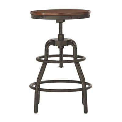 Industrial Mansard Adjustable Height Black Bar Stool