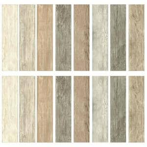 4 in. x 16.74 in. 16-Piece Multi-Color Distressed Barn Wood Plank Peel and Stick Wall Decals