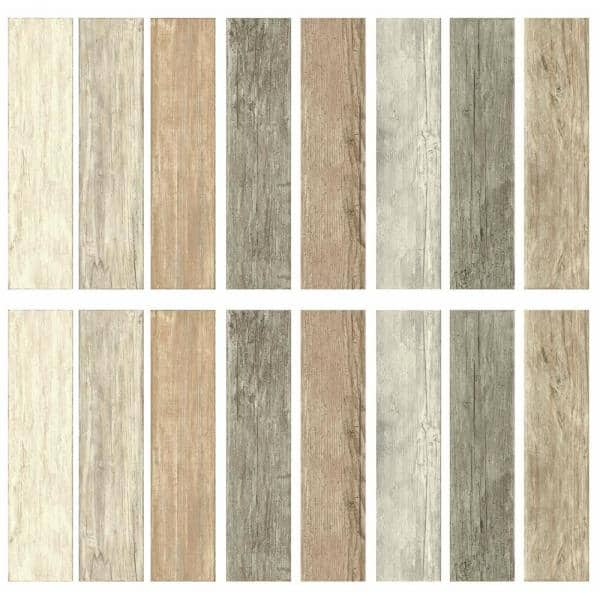 DISTRESSED WOOD look PLANKS peel /& stick wall stickers 16 decals barn BLUE decor