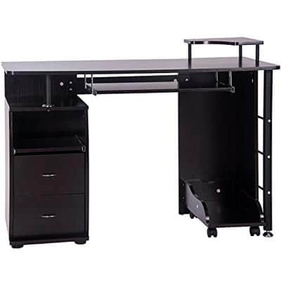 Espresso Home Office Computer Desk Table with Keyboard Tray and Drawers