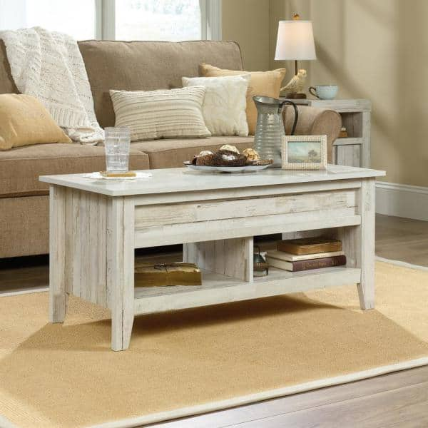 SAUDER Dakota Pass 44 In. White Plank Large Rectangle Composite Coffee Table  With Lift Top-424120 - The Home Depot