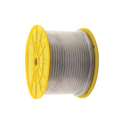 3/32 in. x 1/8 in. x 250 ft. Vinyl-Coated Galvanized Aircraft Cable, 7x7 Construction - 184 lbs Safe Work Load - Reeled