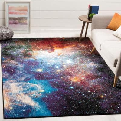 Galaxy Purple/Multi 9 ft. x 12 ft. Abstract Area Rug