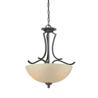 Triton 2-Light Sable Bronze Pendant with Tea Stained Glass Shade
