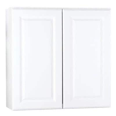 Hampton Satin White Raised Panel Stock Assembled Wall Kitchen Cabinet (30 in. x 30 in. x 12 in.)