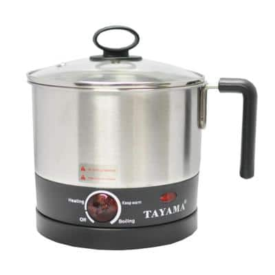 1-Liter Stainless Steel Electric Noodle Cooker with Detachable Base, Black