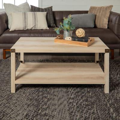 Urban Industrial 40 in. White Oak Medium Rectangle MDF Coffee Table with Shelf