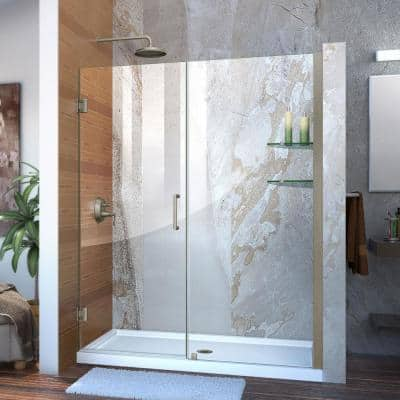 Unidoor 58 to 59 in. x 72 in. Frameless Hinged Shower Door in Brushed Nickel