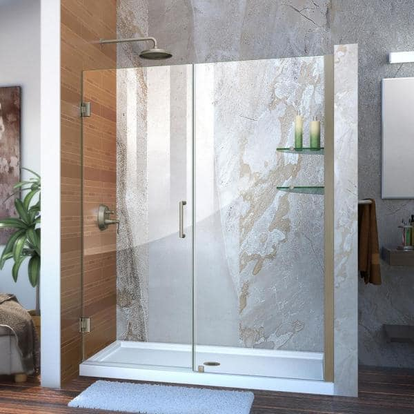 Dreamline Unidoor 58 To 59 In X 72 In Frameless Hinged Shower Door In Brushed Nickel Shdr 20587210s 04 The Home Depot