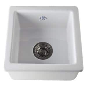 Lancaster Dual Mount Fireclay 15 in. Single Bowl Kitchen Sink in White
