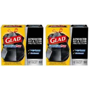 30 Gal. ForceFlexPlus Black Drawstring Large Outdoor Trash Bags (50-Count, 2-Pack)