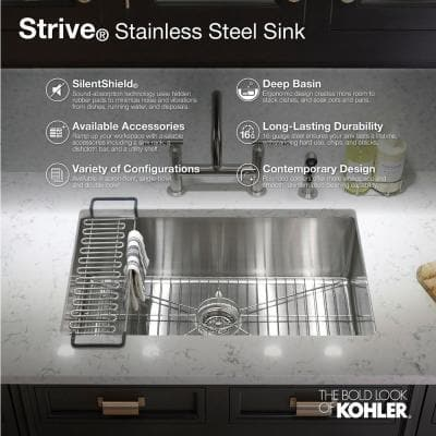 Strive Undermount Farmhouse Apron Front Stainless Steel 30 in. Single Bowl Kitchen Sink Kit with Basin Rack