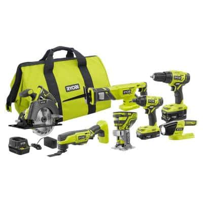 ONE+ 18V Cordless 6-Tool Combo Kit with (2) Batteries, Charger, Bag with Fixed Base Trim Router