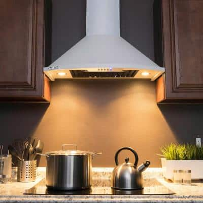 30 in. Convertible Kitchen Wall Mount Range Hood with Lights in White Painted Stainless Steel